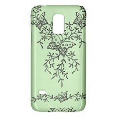 Illustration Of Butterflies And Flowers Ornament On Green Background Galaxy S5 Mini