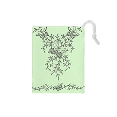 Illustration Of Butterflies And Flowers Ornament On Green Background Drawstring Pouches (Small)