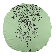 Illustration Of Butterflies And Flowers Ornament On Green Background Large 18  Premium Flano Round Cushions