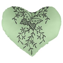 Illustration Of Butterflies And Flowers Ornament On Green Background Large 19  Premium Flano Heart Shape Cushions