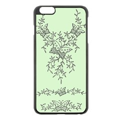 Illustration Of Butterflies And Flowers Ornament On Green Background Apple iPhone 6 Plus/6S Plus Black Enamel Case