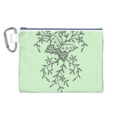 Illustration Of Butterflies And Flowers Ornament On Green Background Canvas Cosmetic Bag (L)