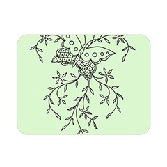 Illustration Of Butterflies And Flowers Ornament On Green Background Double Sided Flano Blanket (Mini)