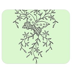 Illustration Of Butterflies And Flowers Ornament On Green Background Double Sided Flano Blanket (medium)