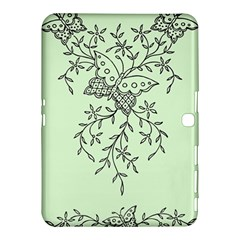 Illustration Of Butterflies And Flowers Ornament On Green Background Samsung Galaxy Tab 4 (10 1 ) Hardshell Case