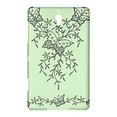 Illustration Of Butterflies And Flowers Ornament On Green Background Samsung Galaxy Tab S (8 4 ) Hardshell Case