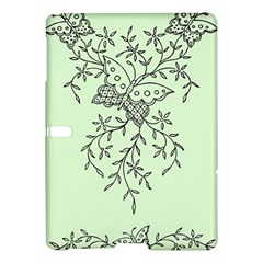 Illustration Of Butterflies And Flowers Ornament On Green Background Samsung Galaxy Tab S (10 5 ) Hardshell Case