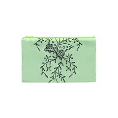 Illustration Of Butterflies And Flowers Ornament On Green Background Cosmetic Bag (xs)