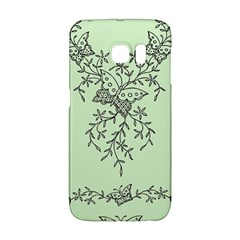 Illustration Of Butterflies And Flowers Ornament On Green Background Galaxy S6 Edge