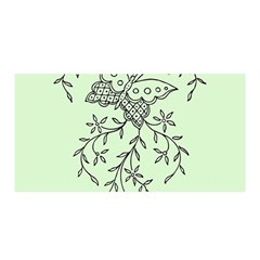 Illustration Of Butterflies And Flowers Ornament On Green Background Satin Wrap