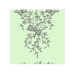 Illustration Of Butterflies And Flowers Ornament On Green Background Small Satin Scarf (Square)