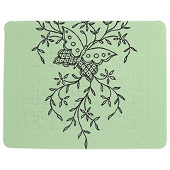 Illustration Of Butterflies And Flowers Ornament On Green Background Jigsaw Puzzle Photo Stand (Rectangular)