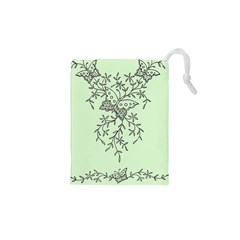 Illustration Of Butterflies And Flowers Ornament On Green Background Drawstring Pouches (xs)