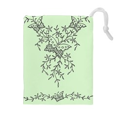 Illustration Of Butterflies And Flowers Ornament On Green Background Drawstring Pouches (Extra Large)