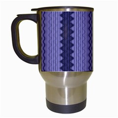 Zig Zag Repeat Pattern Travel Mugs (White)