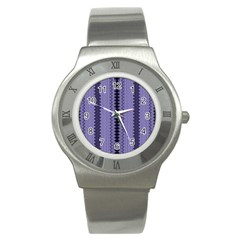 Zig Zag Repeat Pattern Stainless Steel Watch