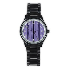 Zig Zag Repeat Pattern Stainless Steel Round Watch