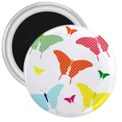 Beautiful Colorful Polka Dot Butterflies Clipart 3  Magnets