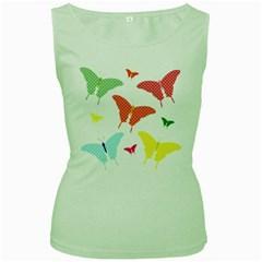 Beautiful Colorful Polka Dot Butterflies Clipart Women s Green Tank Top