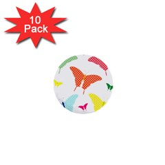 Beautiful Colorful Polka Dot Butterflies Clipart 1  Mini Buttons (10 Pack)