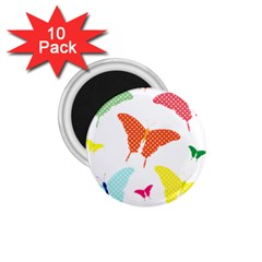 Beautiful Colorful Polka Dot Butterflies Clipart 1.75  Magnets (10 pack)