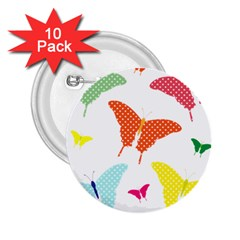 Beautiful Colorful Polka Dot Butterflies Clipart 2.25  Buttons (10 pack)