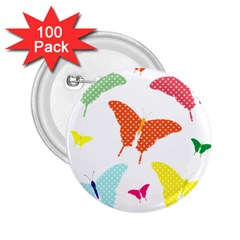 Beautiful Colorful Polka Dot Butterflies Clipart 2 25  Buttons (100 Pack)