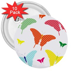 Beautiful Colorful Polka Dot Butterflies Clipart 3  Buttons (10 pack)