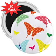 Beautiful Colorful Polka Dot Butterflies Clipart 3  Magnets (10 Pack)