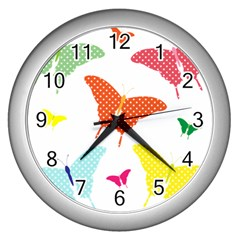 Beautiful Colorful Polka Dot Butterflies Clipart Wall Clocks (silver)