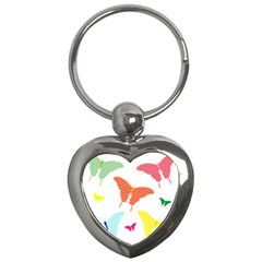 Beautiful Colorful Polka Dot Butterflies Clipart Key Chains (Heart)