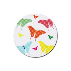 Beautiful Colorful Polka Dot Butterflies Clipart Rubber Round Coaster (4 Pack)