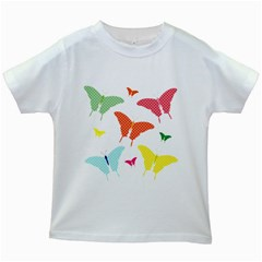 Beautiful Colorful Polka Dot Butterflies Clipart Kids White T Shirts