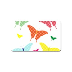 Beautiful Colorful Polka Dot Butterflies Clipart Magnet (name Card)