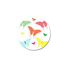 Beautiful Colorful Polka Dot Butterflies Clipart Golf Ball Marker (10 Pack)