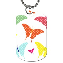 Beautiful Colorful Polka Dot Butterflies Clipart Dog Tag (two Sides)