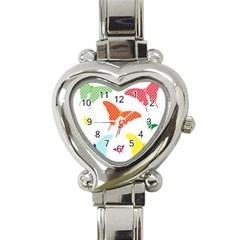 Beautiful Colorful Polka Dot Butterflies Clipart Heart Italian Charm Watch