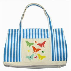 Beautiful Colorful Polka Dot Butterflies Clipart Striped Blue Tote Bag