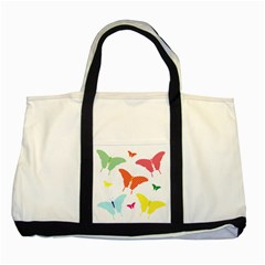 Beautiful Colorful Polka Dot Butterflies Clipart Two Tone Tote Bag
