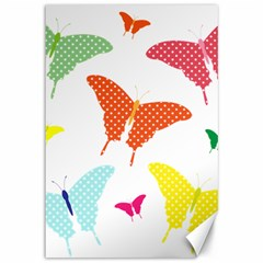 Beautiful Colorful Polka Dot Butterflies Clipart Canvas 12  X 18