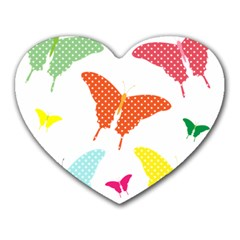 Beautiful Colorful Polka Dot Butterflies Clipart Heart Mousepads