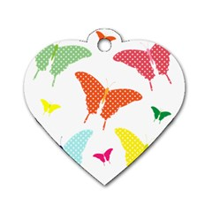 Beautiful Colorful Polka Dot Butterflies Clipart Dog Tag Heart (One Side)