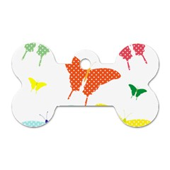 Beautiful Colorful Polka Dot Butterflies Clipart Dog Tag Bone (One Side)