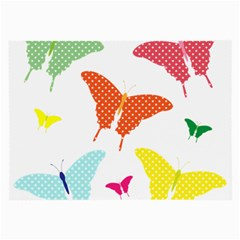 Beautiful Colorful Polka Dot Butterflies Clipart Large Glasses Cloth (2 Side)