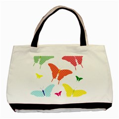 Beautiful Colorful Polka Dot Butterflies Clipart Basic Tote Bag (Two Sides)
