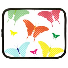 Beautiful Colorful Polka Dot Butterflies Clipart Netbook Case (large)