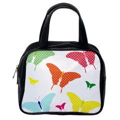 Beautiful Colorful Polka Dot Butterflies Clipart Classic Handbags (One Side)