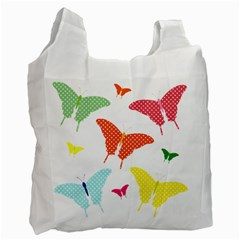 Beautiful Colorful Polka Dot Butterflies Clipart Recycle Bag (Two Side)