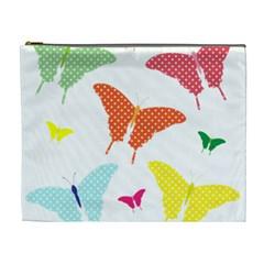 Beautiful Colorful Polka Dot Butterflies Clipart Cosmetic Bag (XL)
