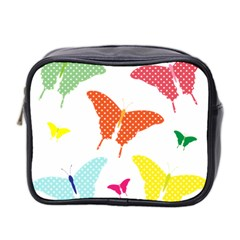 Beautiful Colorful Polka Dot Butterflies Clipart Mini Toiletries Bag 2 Side